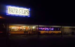 A hamburger place and retro diner