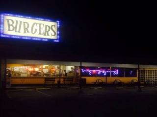 A hamburger place and retro diner